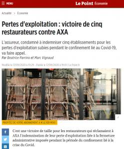Article Le Point victoire contre assureur indemnisation perte d'exploitation