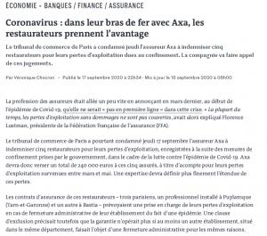 Article Le Monde indemnisation perte d'exploitation