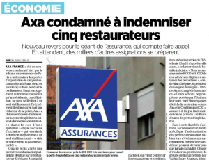 Extrait Le Parisien - Axa condamné à indemniser 5 restaurateurs