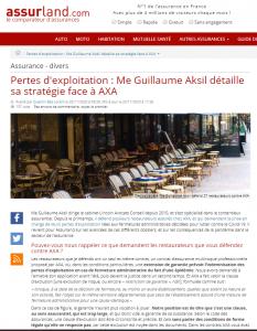 Article stratégie juridique assurance perte d'exploitation AXA Assurland
