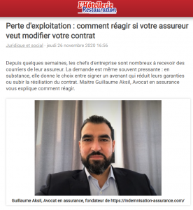 article hotellerie restauration modification contrat assurance